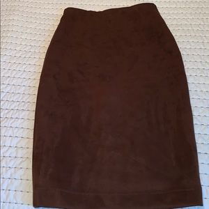 Chocolate brown suede skirt